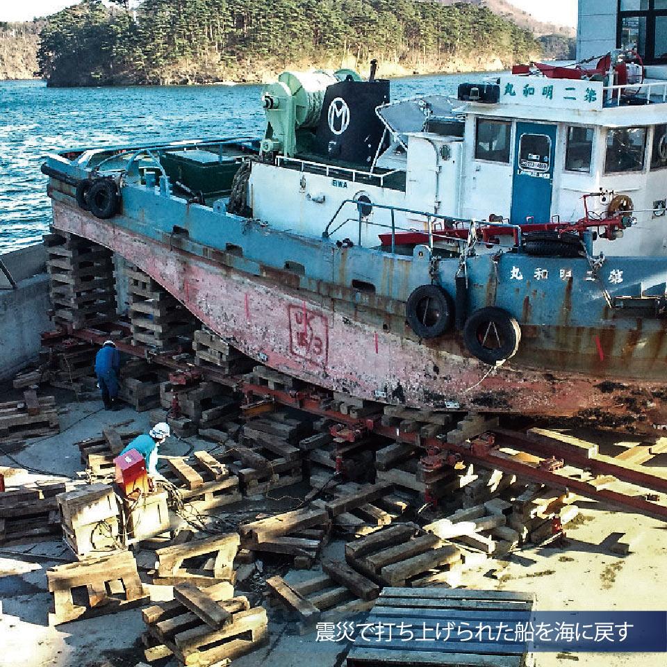 震災で打ち上げられた船を海に戻す